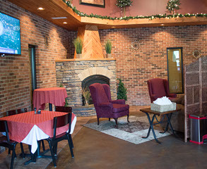 Lobby and dining area at Fratelli Bar & Restaurant in LaVale, Maryland.